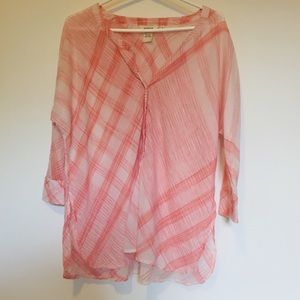 Sundance Pink and White Checked Top Size Small